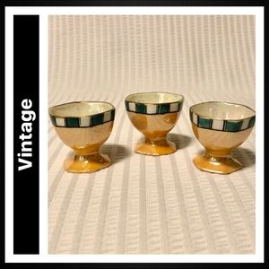 Vintage Iridescent Luster China Egg Cups